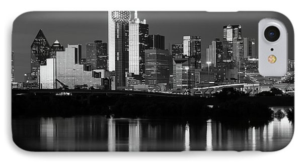 Dallas Night 6616 Bw IPhone Case by Rospotte Photography