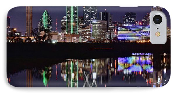 Dallas Reflecting At Night IPhone Case by Frozen in Time Fine Art Photography