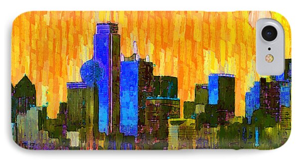 Dallas Skyline 62 - Da IPhone Case by Leonardo Digenio