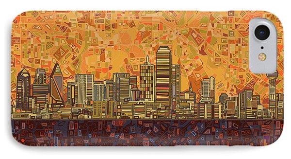 Dallas Skyline Abstract IPhone Case by Bekim Art