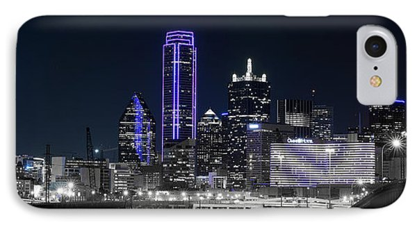 Dallas Skyline Blue And Black IPhone Case by Rospotte Photography