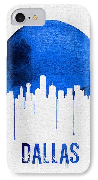 Dallas Skyline Blue IPhone Case by Naxart Studio