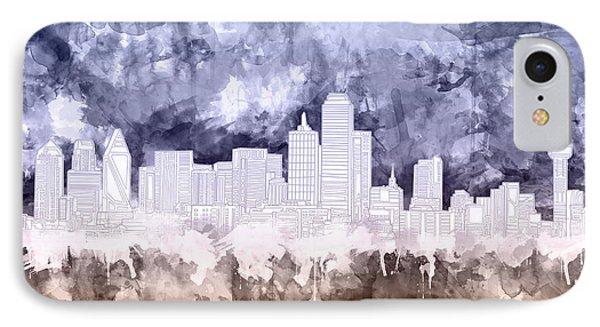 Dallas Skyline Brush Strokes 3 IPhone Case