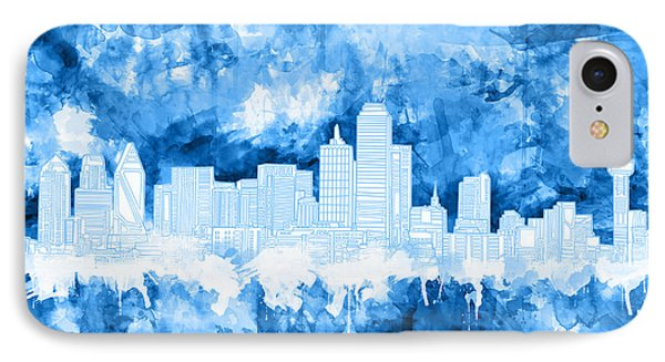 Dallas Skyline Brush Strokes Blue IPhone Case