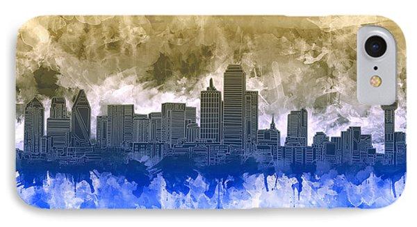 Dallas Skyline Brush Strokes IPhone Case