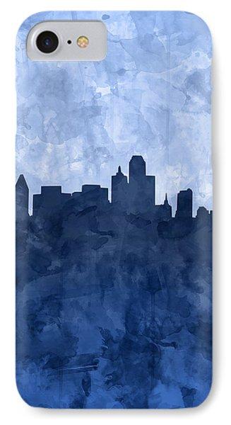 Dallas Skyline Grunge Blue IPhone Case