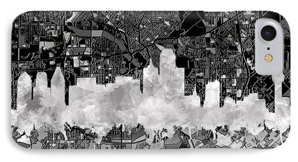 Dallas Skyline Map Black And White 2 IPhone Case