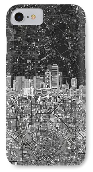 Dallas Skyline Map Black And White 3 IPhone Case