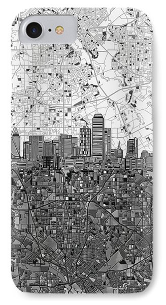 Dallas Skyline Map Black And White 4 IPhone Case