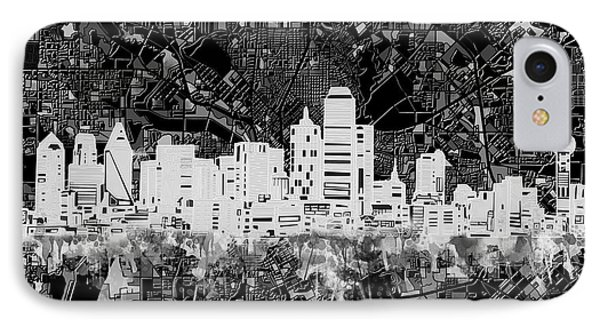 Dallas Skyline Map Black And White 5 IPhone Case by Bekim Art