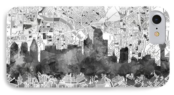 Dallas Skyline Map Black And White IPhone Case