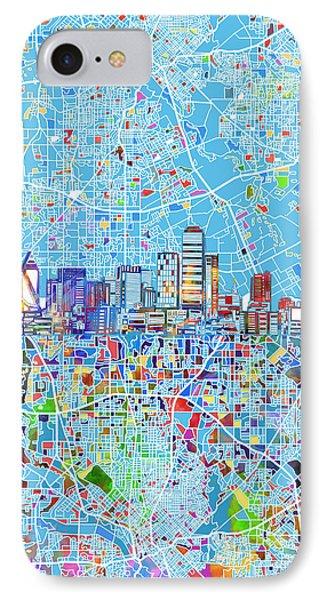 Dallas Skyline Map Blue 3 IPhone Case