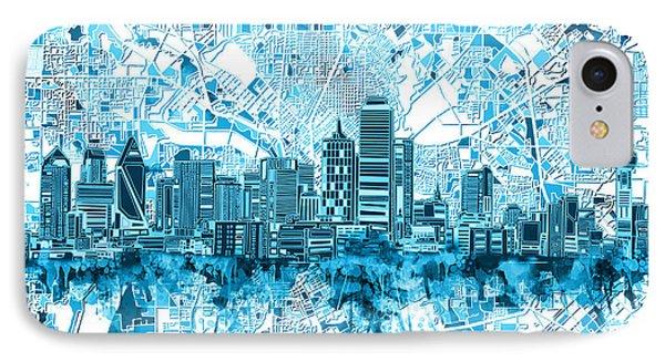 Dallas Skyline Map Blue 6 IPhone Case