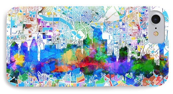 Dallas Skyline Map Color 2 IPhone Case