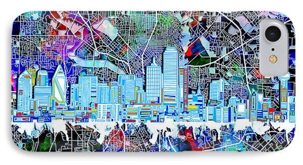 Dallas Skyline Map Color 4 IPhone Case