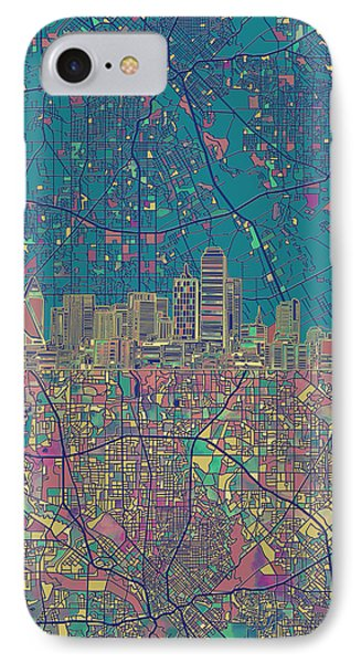 Dallas Skyline Map Green IPhone Case