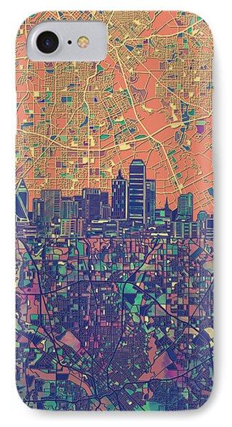 Dallas Skyline Map Orange IPhone Case