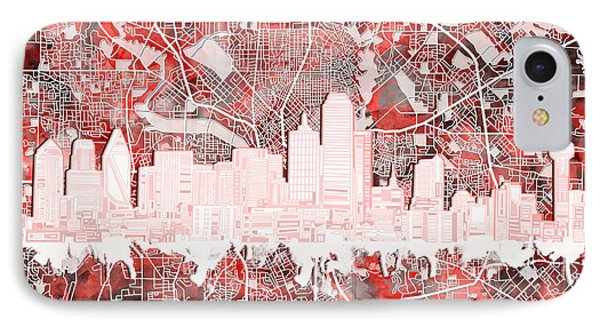 Dallas Skyline Map Red 2 IPhone 7 Case
