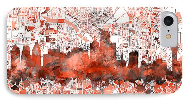 Dallas Skyline Map Red IPhone Case