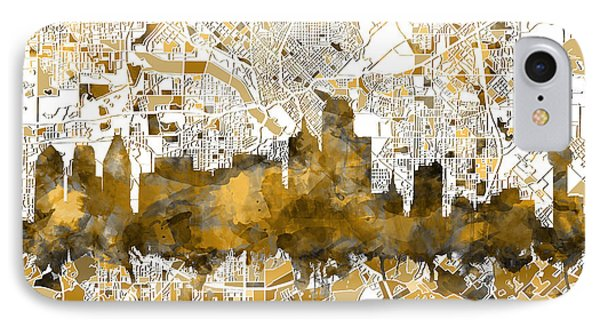 Dallas Skyline Map Sepia IPhone Case