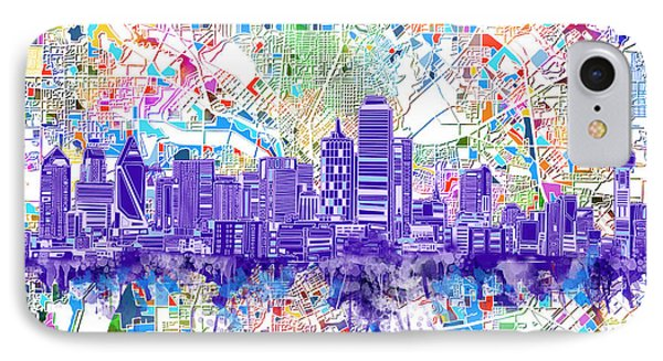 Dallas Skyline Map White 3 IPhone Case by Bekim Art