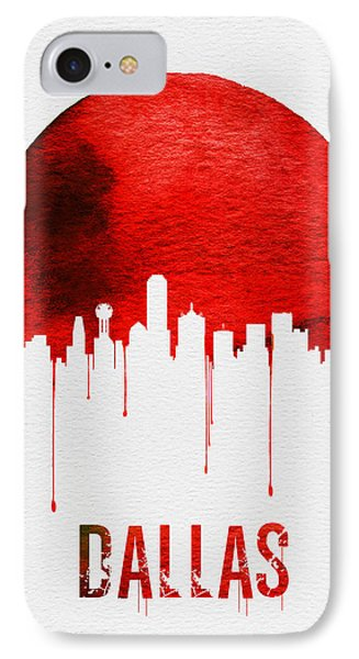 Dallas Skyline Red IPhone Case by Naxart Studio