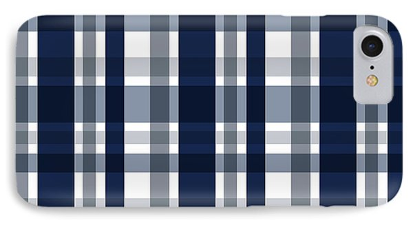 IPhone Case featuring the digital art Dallas Sports Fan Navy Blue Silver Plaid Striped by Shelley Neff