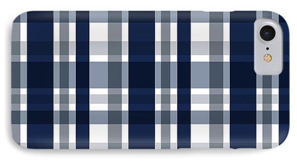 IPhone Case featuring the digital art Dallas Sports Fan Navy Blue Silver Plaid Striped by Shelley Neff