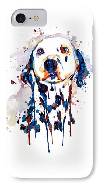 IPhone Case featuring the mixed media Dalmatian Head by Marian Voicu