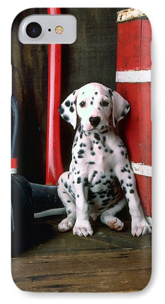 Dalmatian Puppy With Fireman's Helmet  Phone Case by Garry Gay