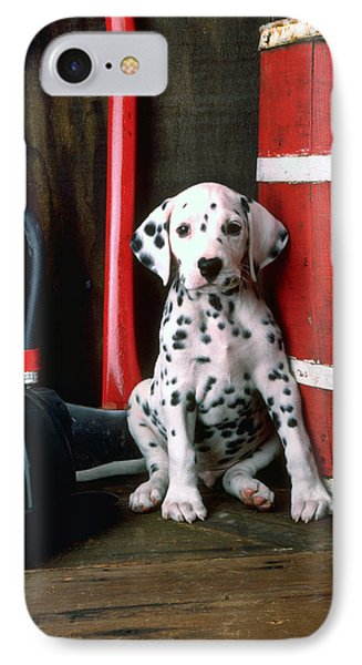 Dalmatian Puppy With Fireman's Helmet  IPhone Case by Garry Gay
