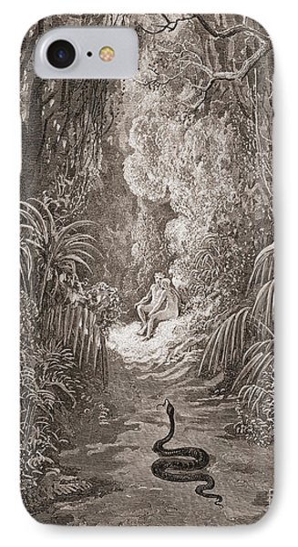 Adam And Eve   Illustration From Paradise Lost By John Milton IPhone Case by Gustave Dore