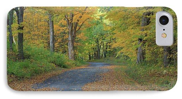 Dana Common Road In Autumn Quabbin Reservoir IPhone Case by John Burk