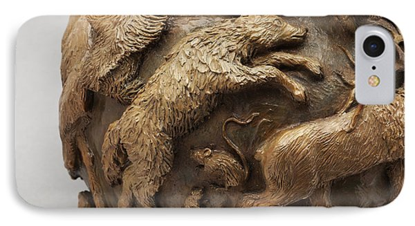 Dance Of The Seasons - Bronze Wildlife Bowl Detail - Wolf And Jumping Mice IPhone Case