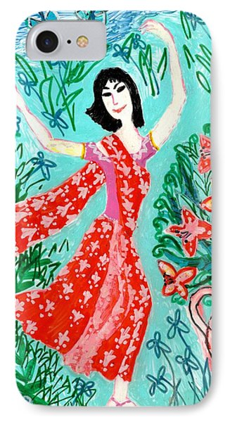 Dancer In Red Sari Phone Case by Sushila Burgess