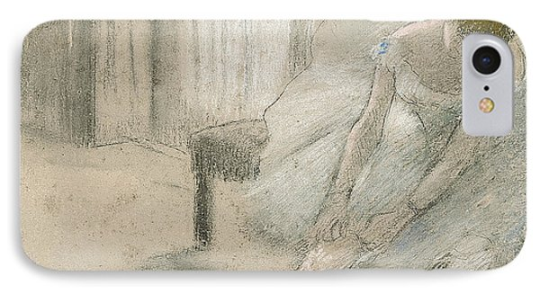 Dancer Seated, Readjusting Her Stocking IPhone Case by Edgar Degas