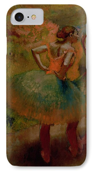 Dancers Wearing Green Skirts Phone Case by Edgar Degas