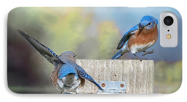 IPhone Case featuring the photograph Dancing Bluebirds by Bonnie Barry