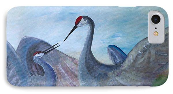 Dancing Cranes IPhone Case by Robin Maria Pedrero
