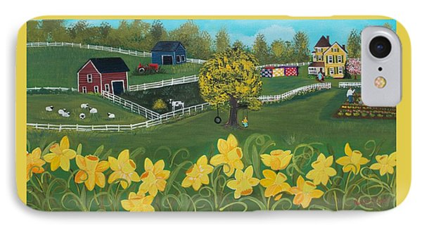 IPhone Case featuring the painting Dancing Daffodils by Virginia Coyle
