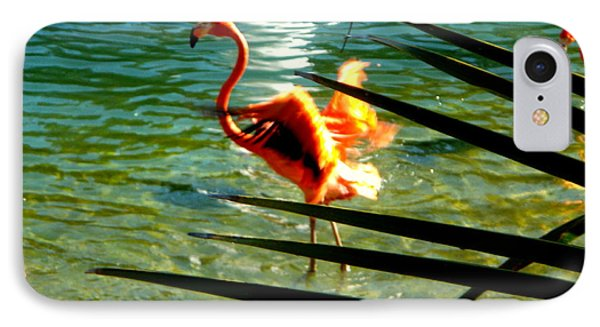 IPhone Case featuring the painting Dancing Flamingo by Yolanda Rodriguez