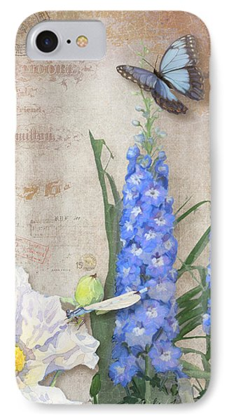 Dancing In The Wind - Damselfly N Morpho Butterfly W Delphinium IPhone Case