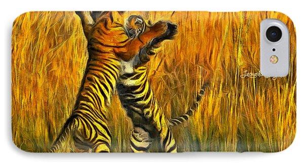 Dancing Tigers - Da IPhone Case by Leonardo Digenio