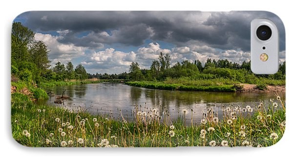 Dandelion Field On The River Bank IPhone Case by Dmytro Korol