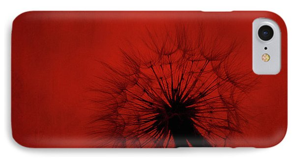 Dandelion Silhouette On Red Textured Background IPhone Case