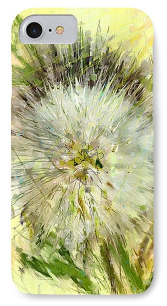IPhone Case featuring the drawing Dandelion Sunshower by Desline Vitto