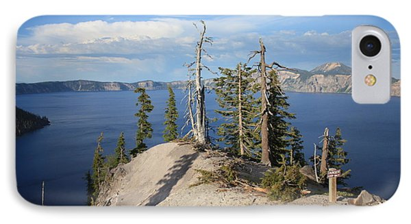 Dangerous Slope At Crater Lake Phone Case by Carol Groenen