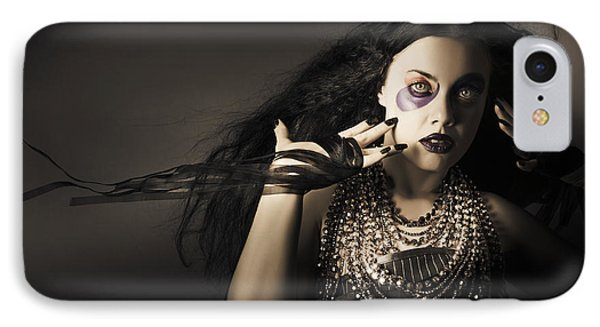 Dark Beauty Woman. Rich Jewellery And Black Nails IPhone Case by Jorgo Photography - Wall Art Gallery