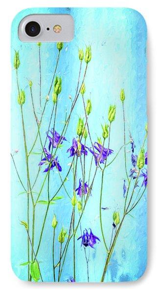 Dark Blue Delphinium Soft Oil Style IPhone Case by John Williams