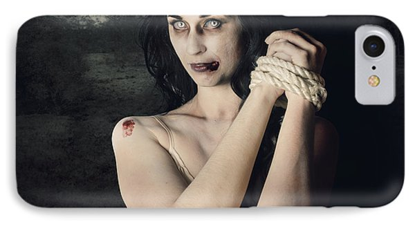 Dark Horror Scene Of An Evil Zombie Woman Tied Up IPhone Case by Jorgo Photography - Wall Art Gallery